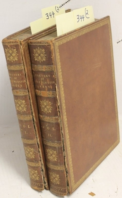 "2 LEATHER BOUND VOLUMES, 13 1/2"" X 11"","