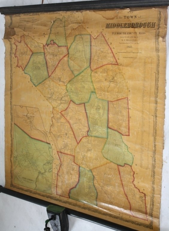1855 ROLL UP MAP OF THE TOWN OF MIDDLEBORO, MASS.