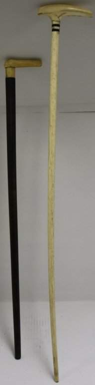 TWO 19TH C SCRIMSHAW CANES TO INCLUDE WHALEBONE