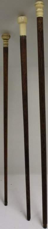 THREE 19TH C SCRIMSHAW WHALEBONE CANES. ONE