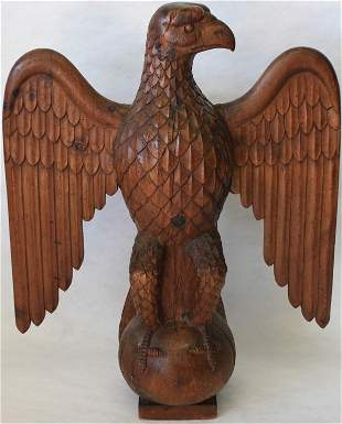 EARLY 20TH C CARVED PINE FULL BODIED EAGLE,