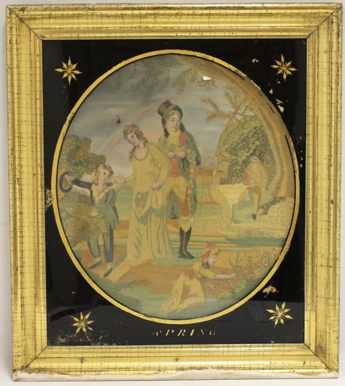 EARLY 19TH C ENGLISH NEEDLEWORK AND WATERCOLOR