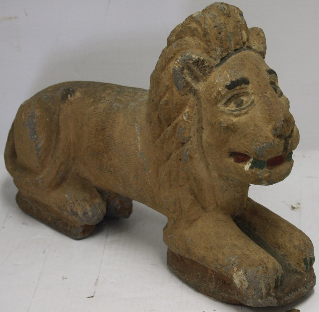 ANCIENT EGYPTIAN STONE SPHINX LION CARVED AND
