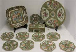 12 PIECES OF 19TH C ROSE MEDALLION PORCELAIN TO