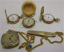 FOUR 19TH C GOLD FILLED POCKET WATCHES.  3 ARE