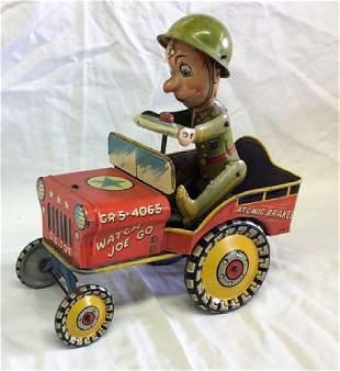 Vintage 1944 GI Joe Jouncing Jeep Tin Litho Wind up Toy