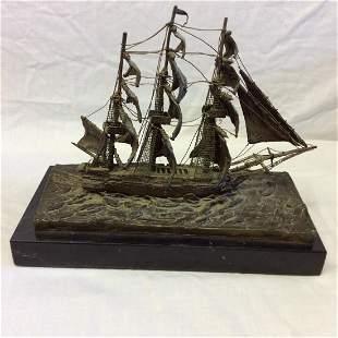 Hy Levens (Amer. 20th C)Bronze Sailing Vessel Sculpture