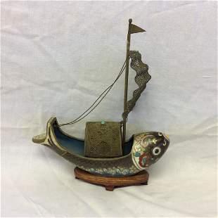 Cloisonne Fish Sailing Vessel Ship
