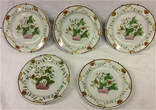 5 Soft Paste Porcelain China Plates Strawberries