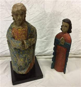 2 Carved Wood Religious Folk Art Statues