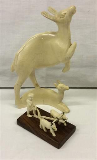 2 Asian Carvings Farmer w Oxen & Doe w Fawn