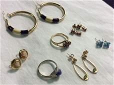 Group 14k Gold Earrings  Rings Sapphire Ruby Topaz