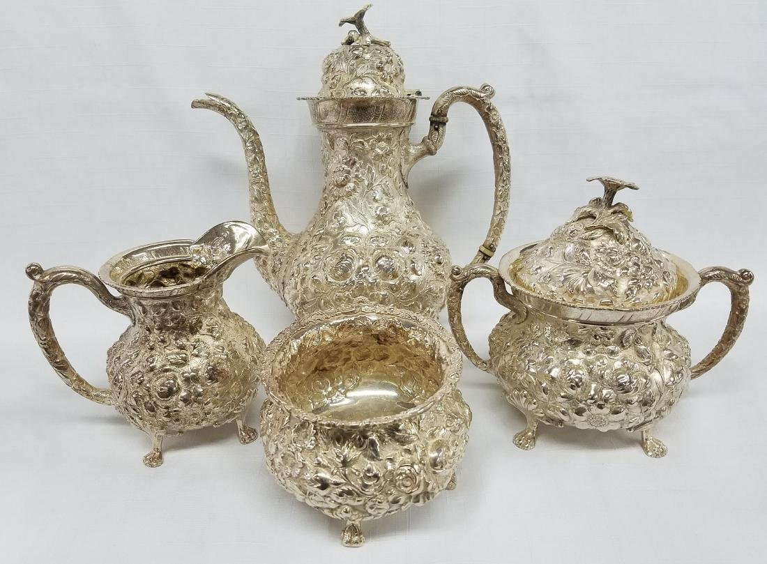 Four Piece Kirk Stieff Rose Sterling Silver Tea Set
