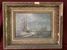 Antique oil on Canvas Painting Ships Seascape