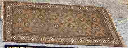 Persian Geometric Camel Hair Rug Carpet 117 x 76