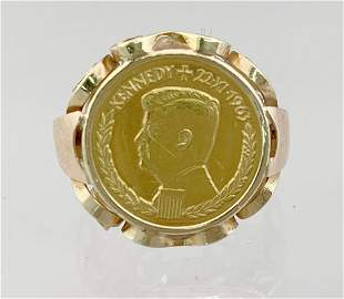 Ladies 14k Gold Ring w 1 Gold 1963 Kennedy Ducat