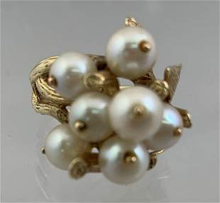 14k Gold Ladies Multi Pearl Cocktail Dinner Ring