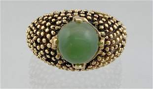 14k Gold Ladies Green Jade Ring