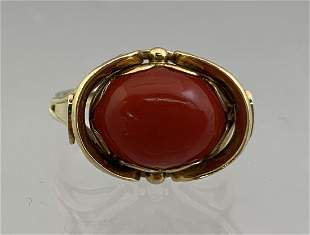 14k Gold Ladies Carnelian Ring