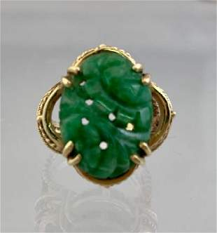 14k Gold Ladies Ring Carved Green Jade