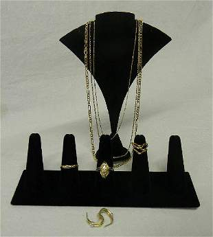 Lot 14k Gold Rings, Earrings, Necklaces