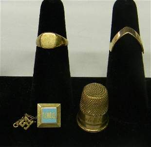 Lot 9K & 10K Gold Rings Thimble