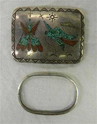 JJ Wilson Sterling Silver Navajo Belt Buckle & Old Pawn