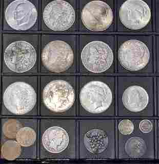 Lot US Coins Morgan Silver Dollars Seated Liberty