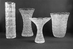 4 Queen Lace Bohemian Crystal Vases