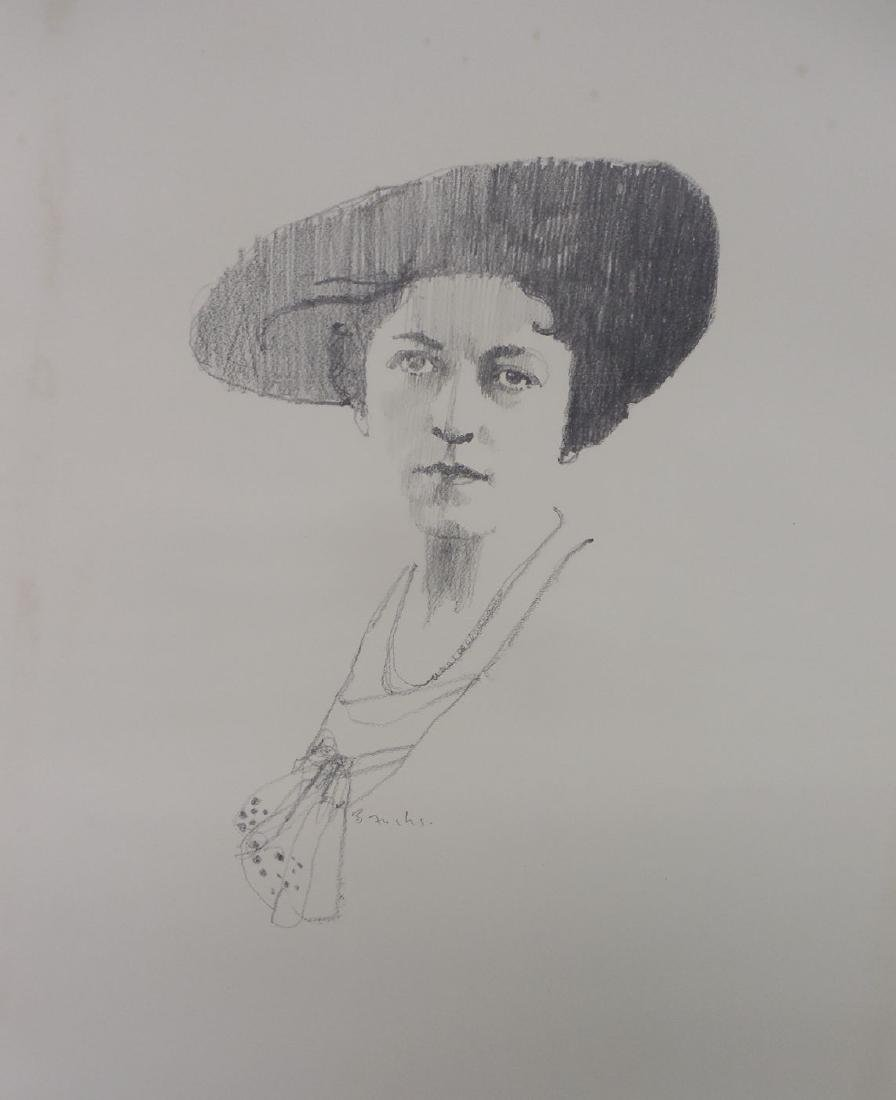 Signed Bernard Fuchs Original Pencil Drawing Portrait
