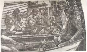 Peter Vincent Original Hand Pulled Etching Fishermen