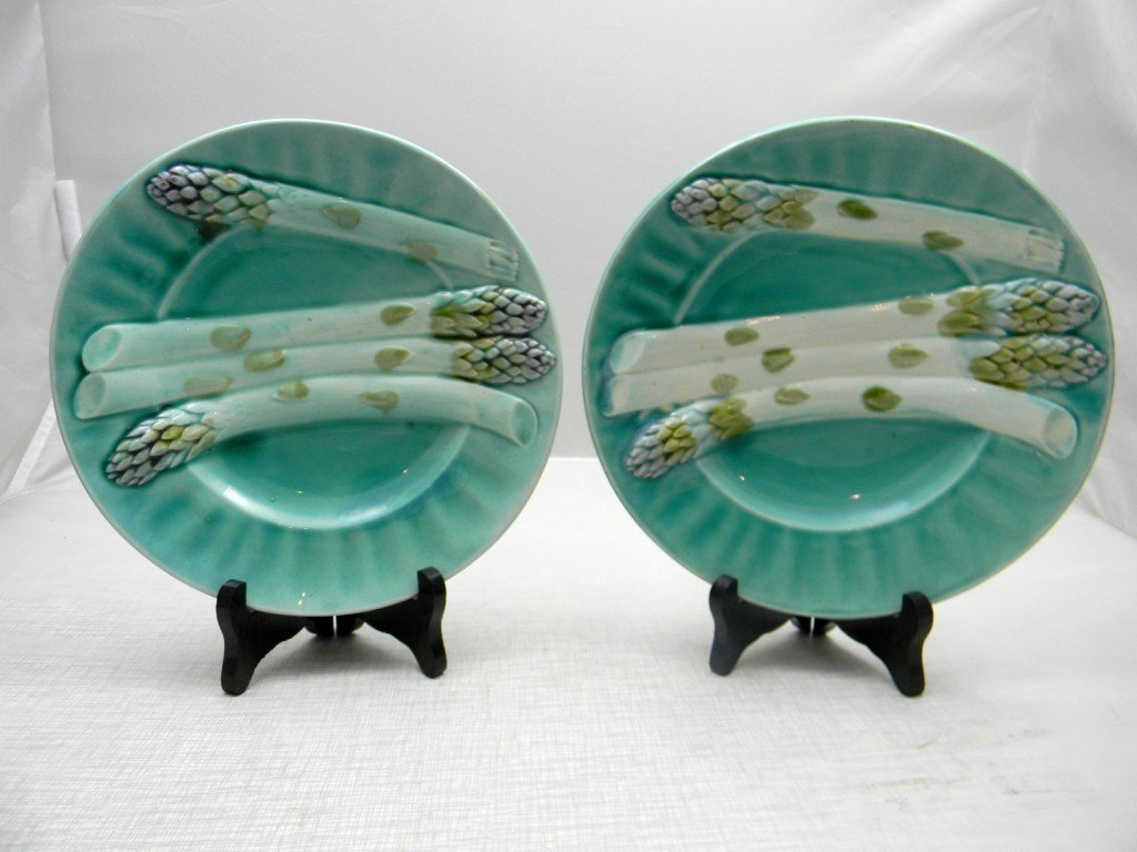 "7: Two French Asparagus Plates 8 1/2"". Marked Depose K"