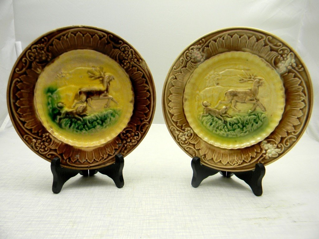 "8: Two Running Stag and Dog Plates 8"". Unmarked."