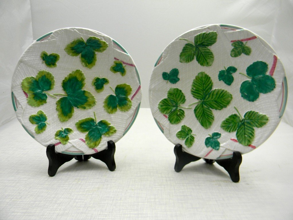 "17: Two Strawberry Motif Plates. 8"" George Jones & Sons"