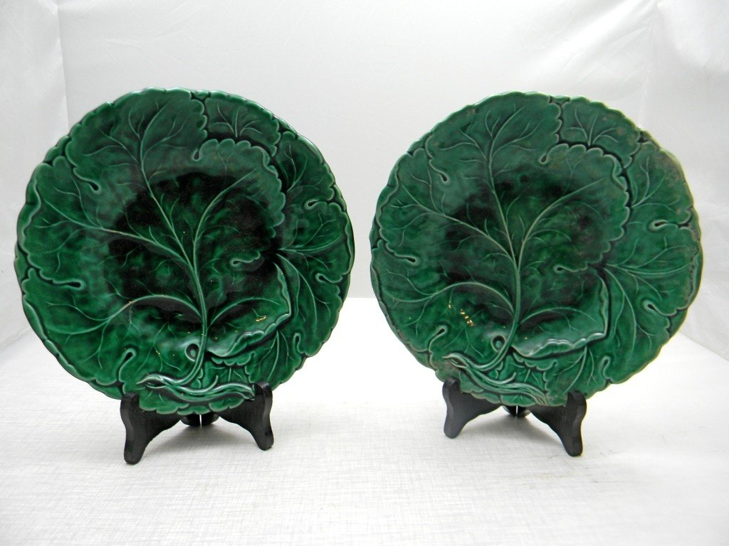 "20: Two Minton Leaf Plates 9""."