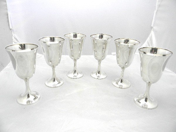 "280: Set of 6 6 1/2"" Gorham Sterling Goblets total weig"