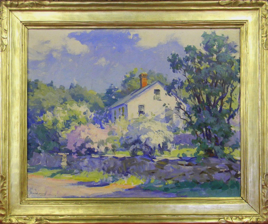 101: Mabel May Woodward, New England Cottage, Oil Paint