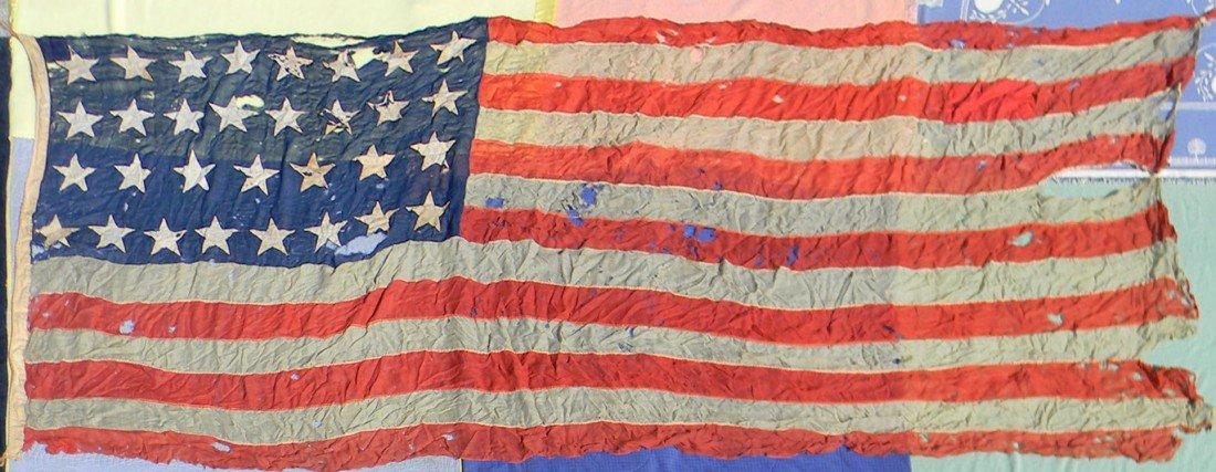"""140: A rare 6' x 14'6"""" 31 American Garrison Flag (Pyle"""