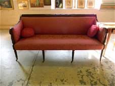 200 Mahogany Sheraton Sofa with carved Back Rail Reed