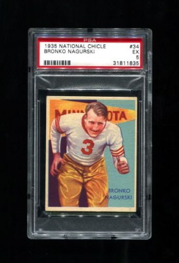 1935 National Chicle #34 Bronko Nagurski - PSA 5