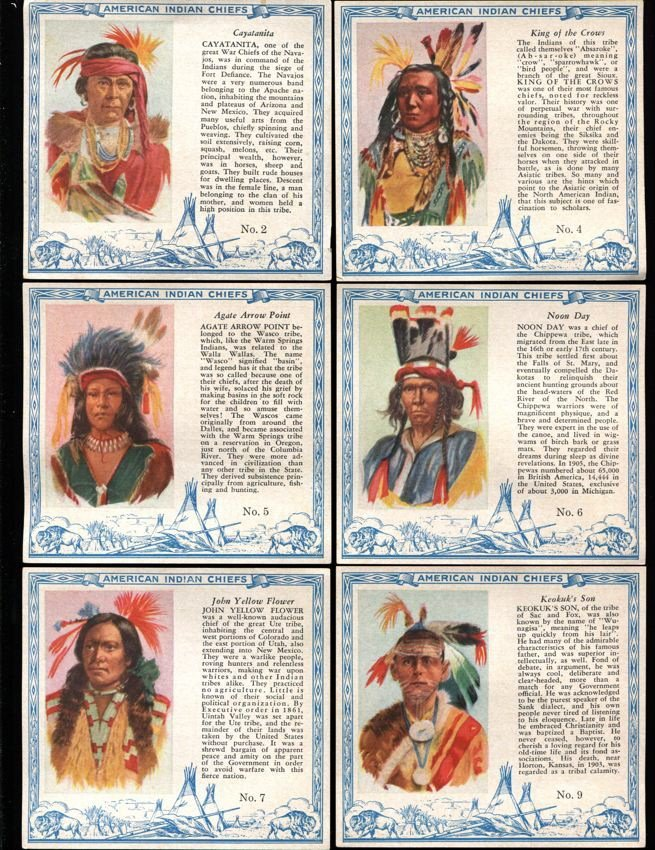 Indians & Cheifs Lot with 1933 Indian Gum (154) cards
