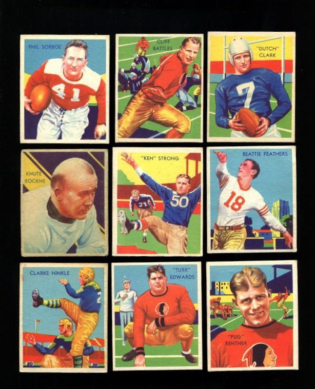 1935 National Chicle Football Complete Low Series Set (