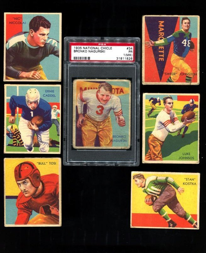 (7) 1935 National Chicle High Numbers with Nagurski