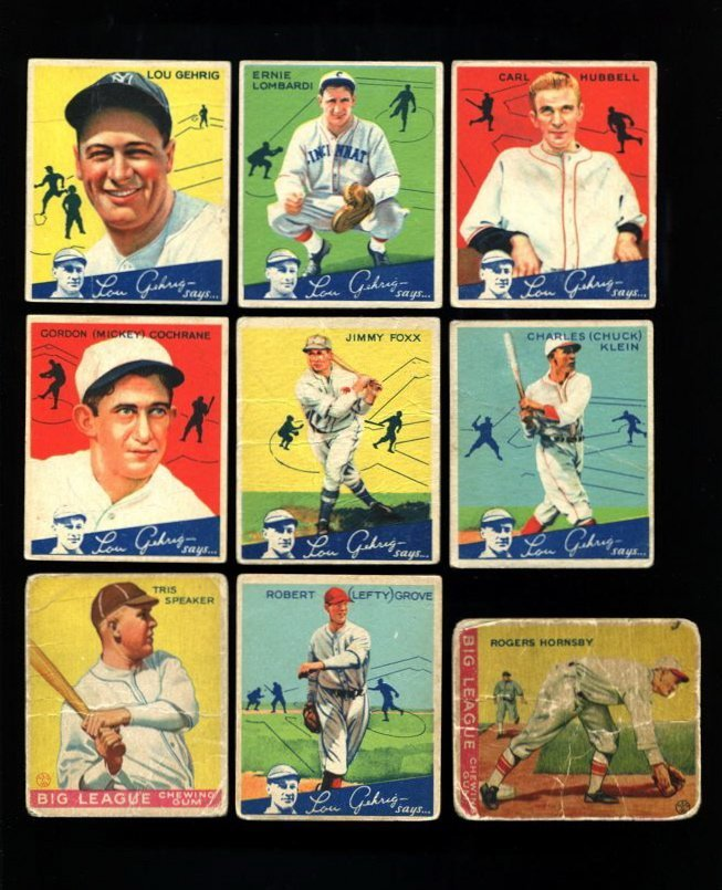 1934 World Wide Gum Baseball Near Set (88/96)