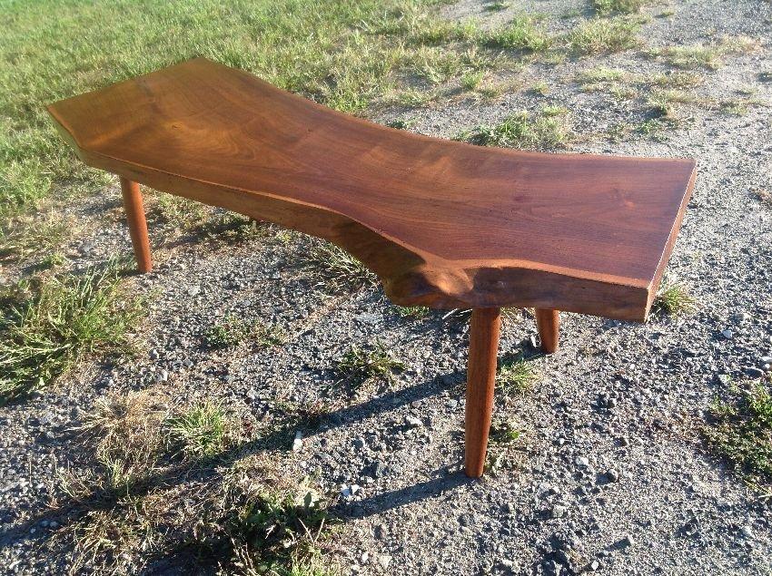 Free Form Nakashima Style Plank Walnut Coffee Table