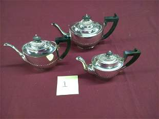 3 Graduated Sterling Silver Tea Pots