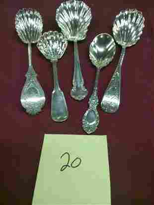 5 Ornate Sterling Silver Serving Spoons