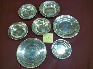 7 Assorted Sterling Silver Plates And Bowls