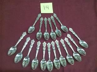 """18 Wallace """"Zodiac"""" Sterling Silver Teaspoons"""
