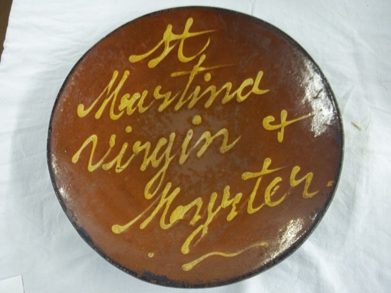 Large redware plate yellow slip decor St Martina Virgin
